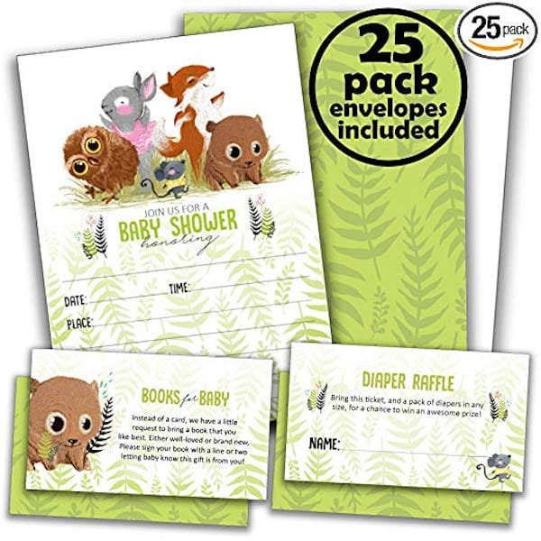 25 Woodland Baby Shower Invitations for Girl or Boy Plus Diaper Raffle Tickets & Books for Baby Request Cards with Envelopes