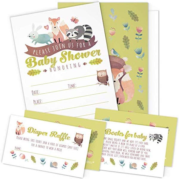 A Set of 25 Woodland Animals Baby Shower Invitations, Diaper Raffle Tickets and Baby Shower Book Request Cards with Envelopes