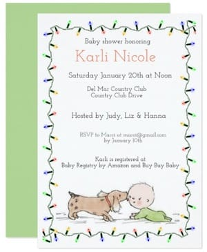 Puppy Kisses & Christmas Tree Lights Baby Shower Invitations