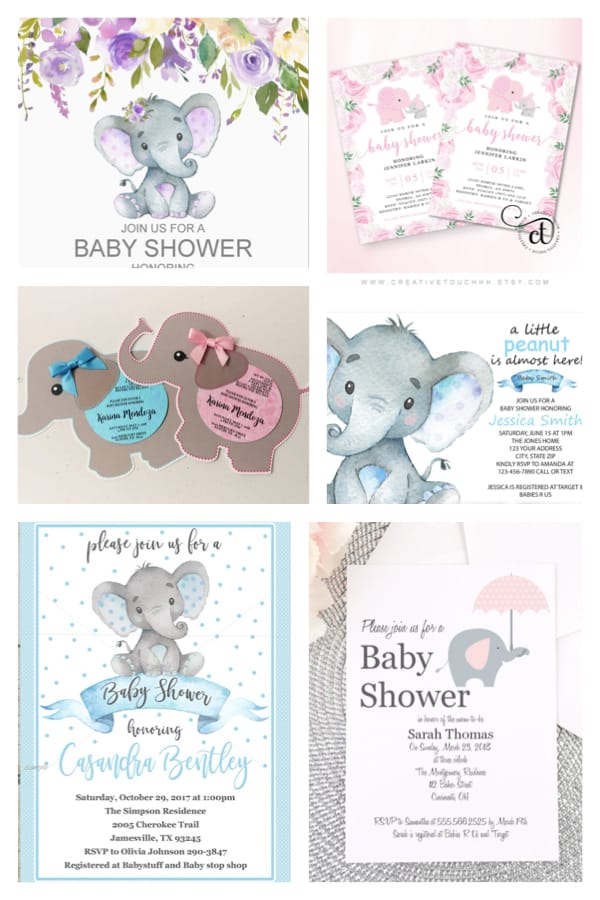 photo regarding Printable Elephant Baby Shower identified as Least complicated Elephant Boy or girl Shower Invites
