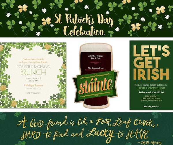 Email or Text Your St Patricks Day Party Evites