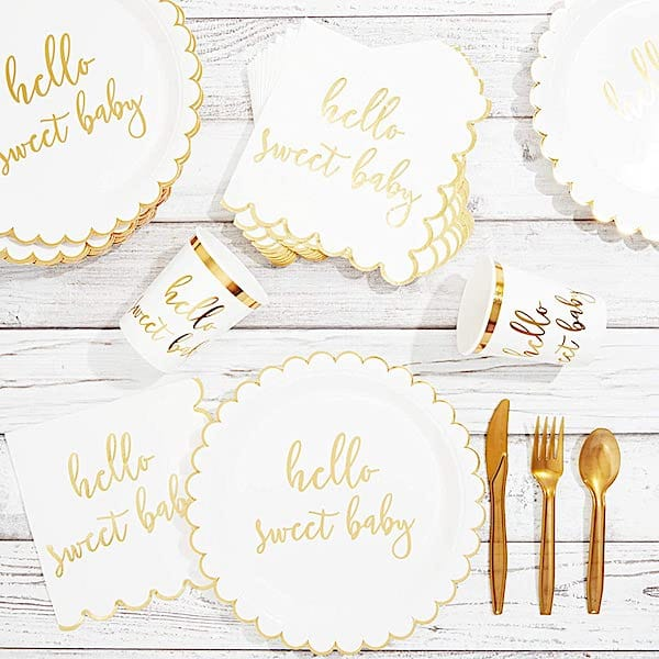 Hello Sweet Baby Paper Goods for Baby Shower