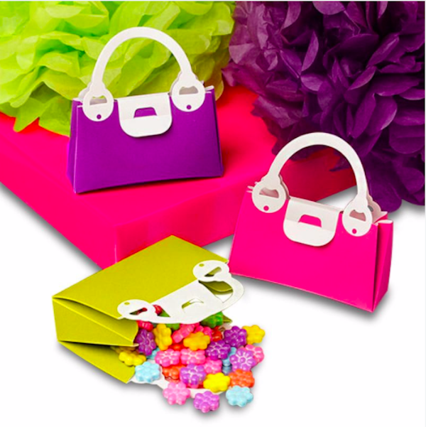 Colored Plastic Handbag Favor Boxes