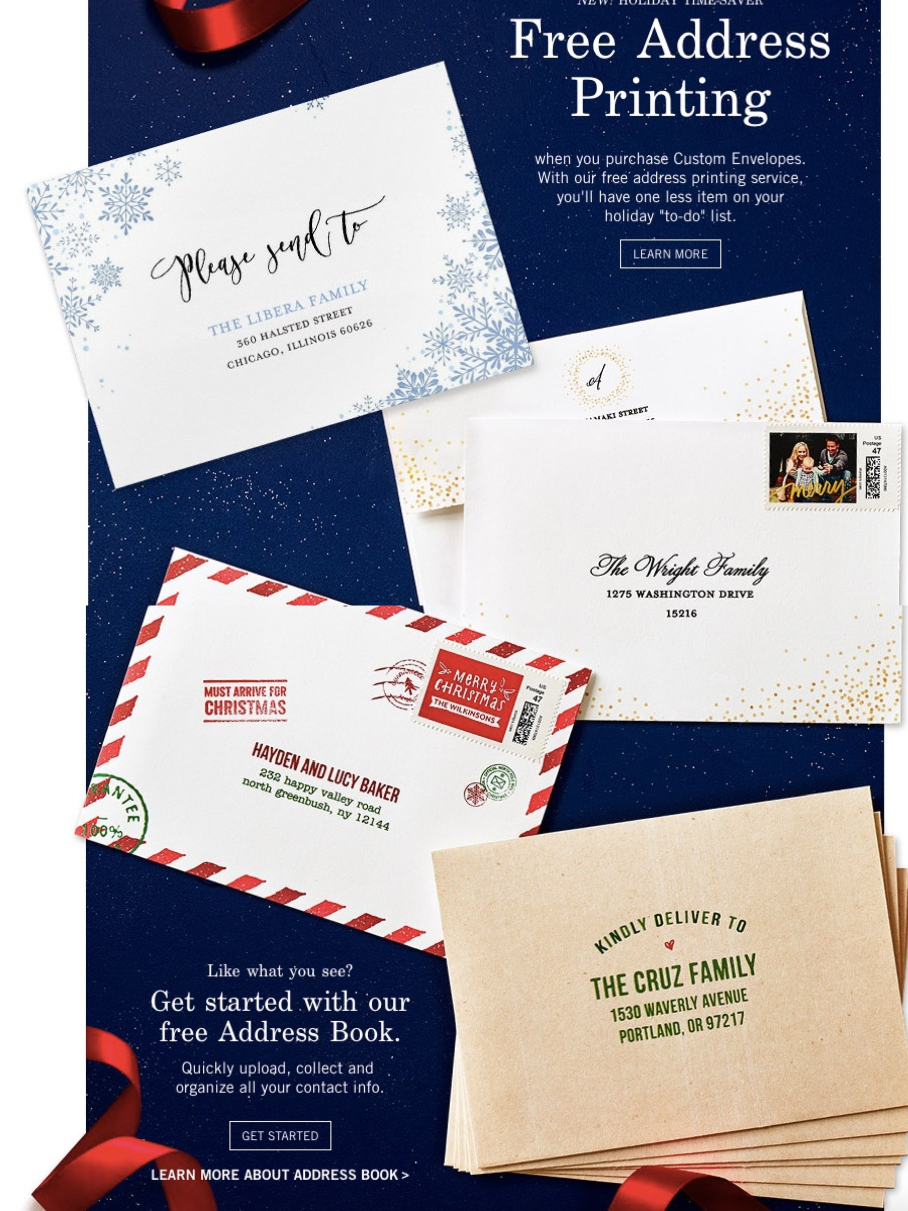 Free Address Printing for Holiday Cards