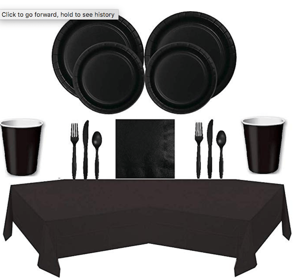 Black Velvet Tableware Party Supplies