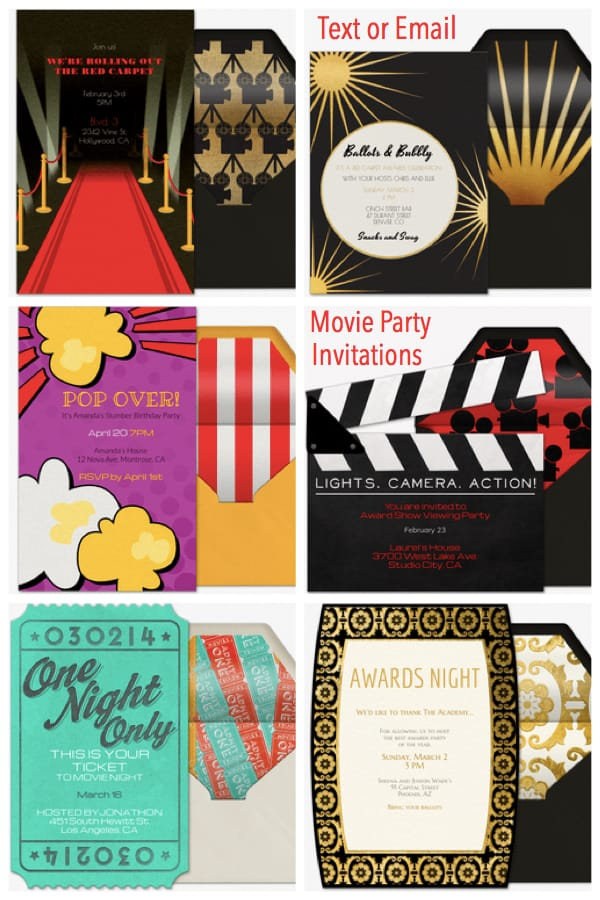 Text or Email Movie Party Invitations