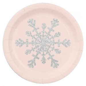 Blush Pink and Faux Glitter Silver Snowflake Paper Plate