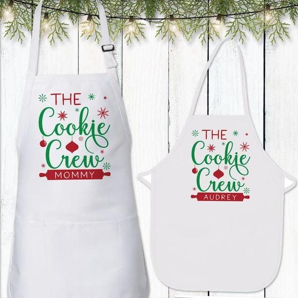 Cookie Crew Christmas Apron Set for Children and Adult