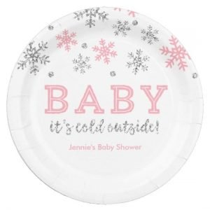 Personalized Winter Snowflake, Pink and Silver Paper Plate