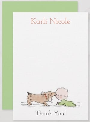 Puppy Kisses Baby Shower Thank You Card with Green Back