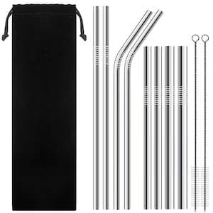 Reusable Stainless Steel Straws with 2 Cleaning Brushes