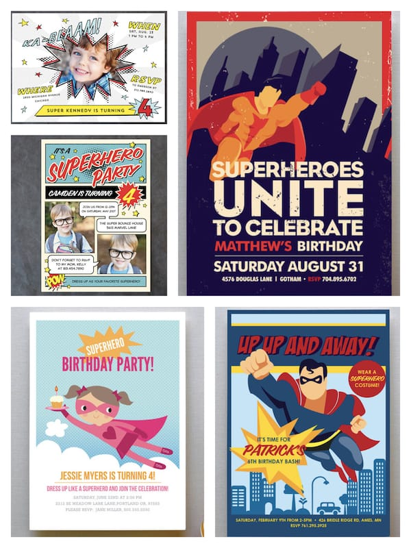 Superhero Birthday Party Invitations