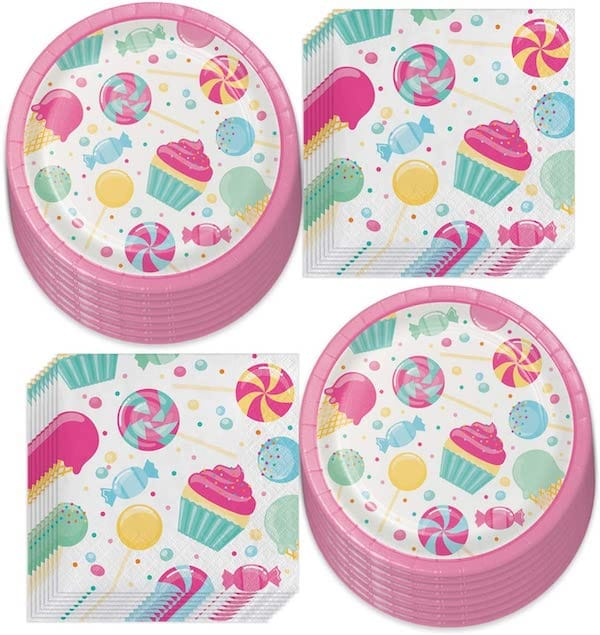 Candy Party Paper Plates and Napkins