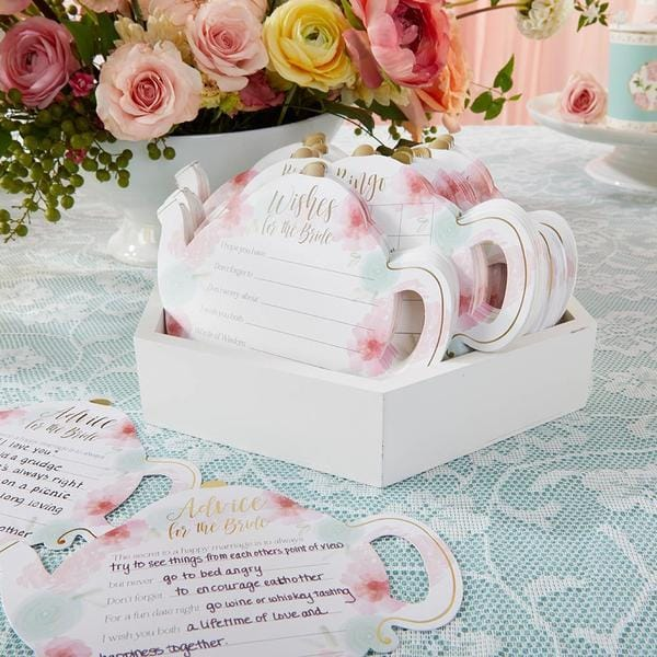 Floral Teapot Bridal Shower 5-Pack Game Card Set