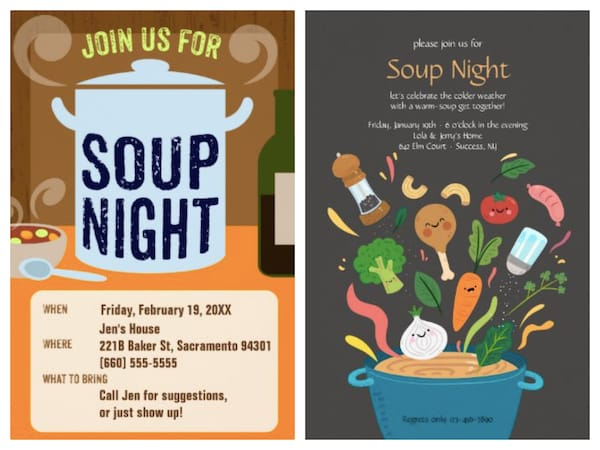 Soup Night Invitations
