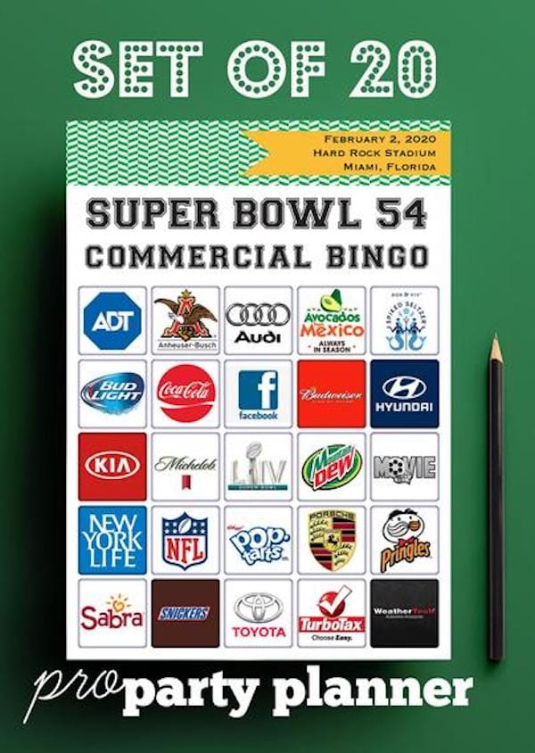 Printable 2020 Super Bowl Commercial BINGO