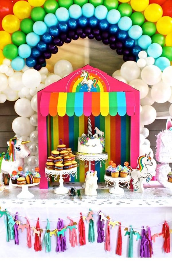 Treat Table Awning at Rainbow Unicorn Birthday Party