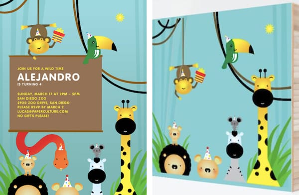 Jungle Safari Invitations with Matching Bamboo Wall Art
