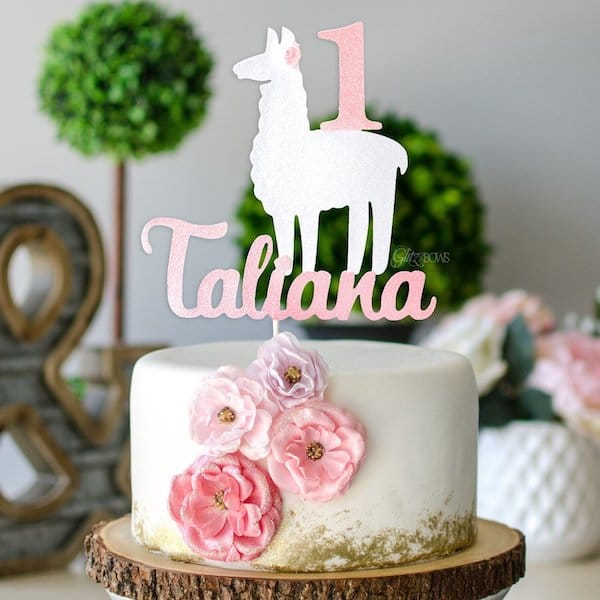 Custom Llama Birthday Cake Topper
