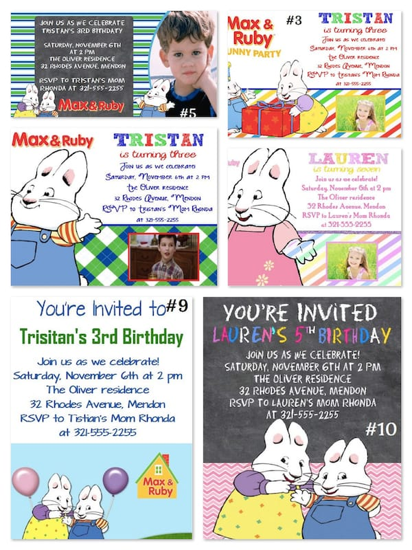 Max & Ruby Birthday Party Invitations