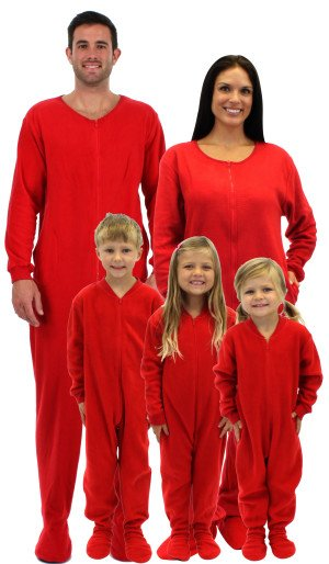 Family Matching Red Footed Pajamas