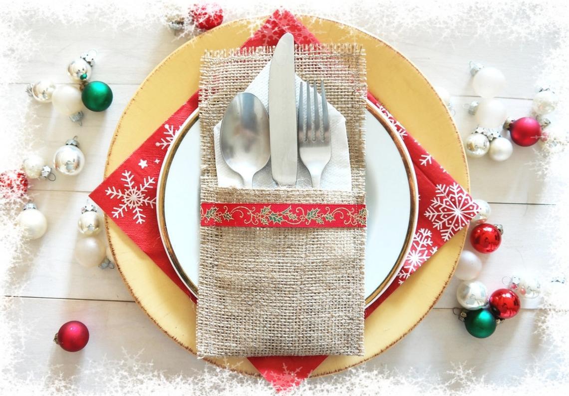 Burlap Christmas Cutlery Pocket