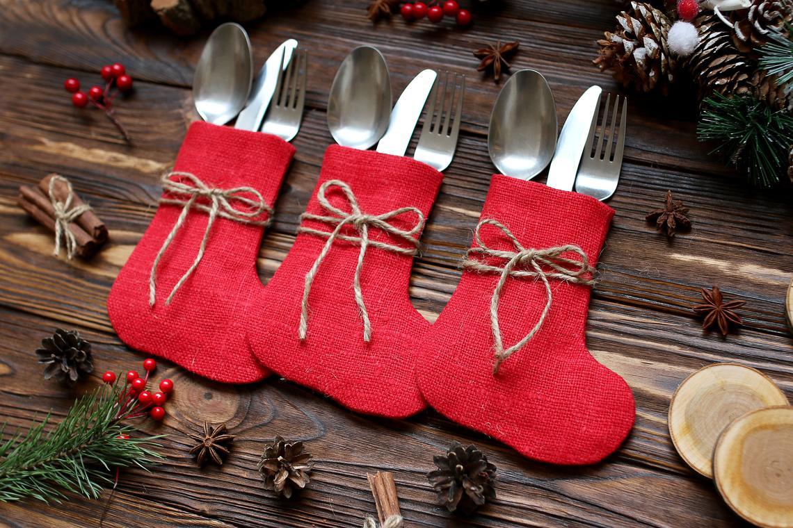 Red Burlap Christmas Silverware Holders