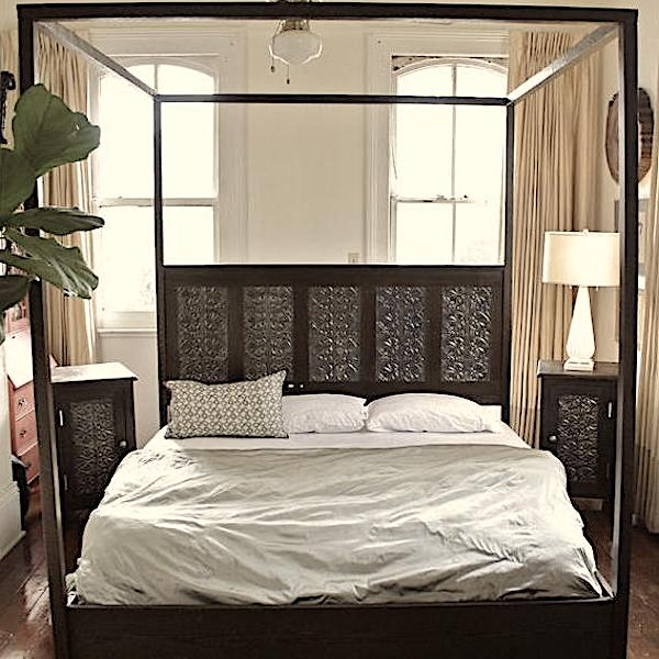 Canopy Beds Made from Reclaimed Wood and Victorian Tin Ceiling Tiles