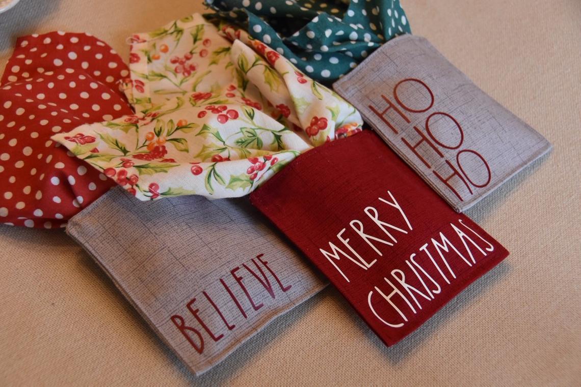 Christmas napkin pockets and silverware holders