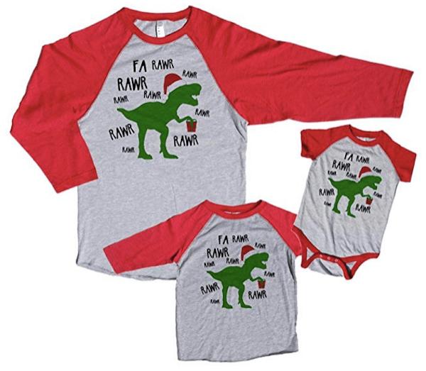 Family Matching Dinosaur Christmas Pajama Shirts
