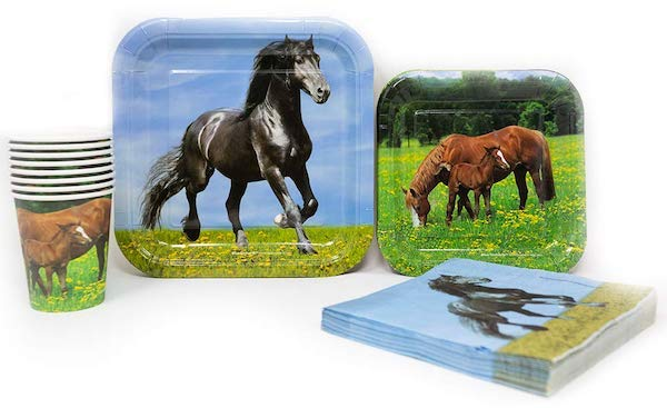Horse Party Supplies with Square Plates