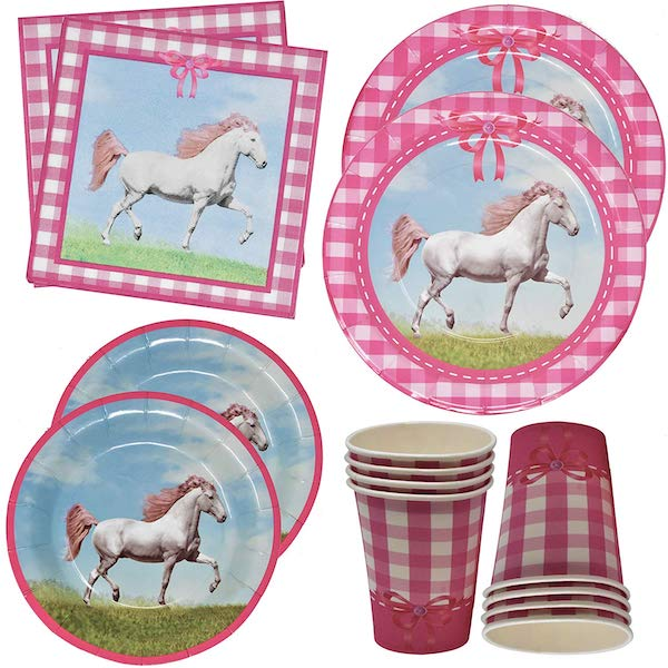 Pink and White Gingham Horse Party Supplies