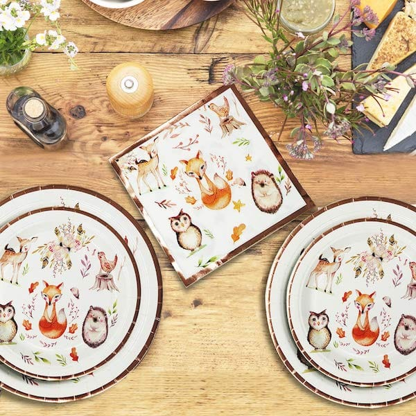 Forest Animal Friends Theme Party Supplies with Rose Gold Foil Design Accents