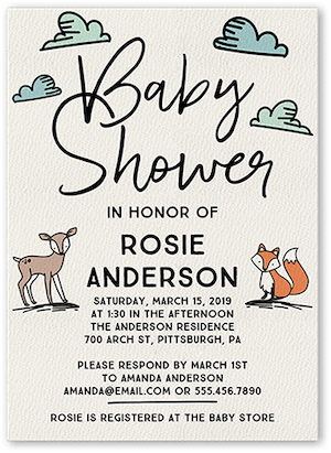 Illustrated Woodland Baby Shower Invitation