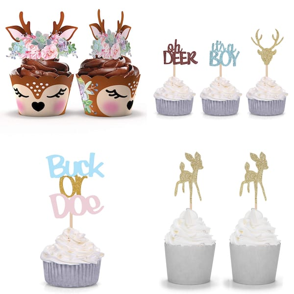 Woodland Deer Cupcake Toppers