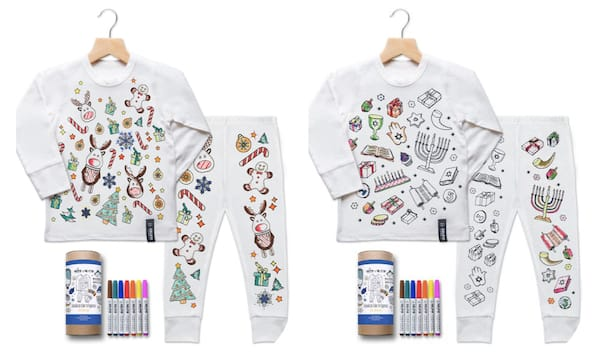 Children's Color Your Christmas and Hanukkah Pajamas