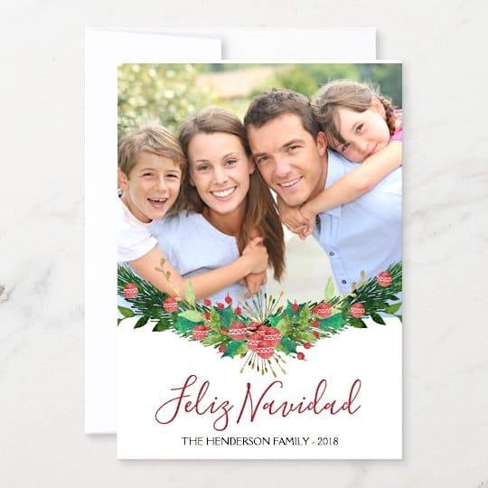 Feliz Navidad Christmas Garland Script Photo Card