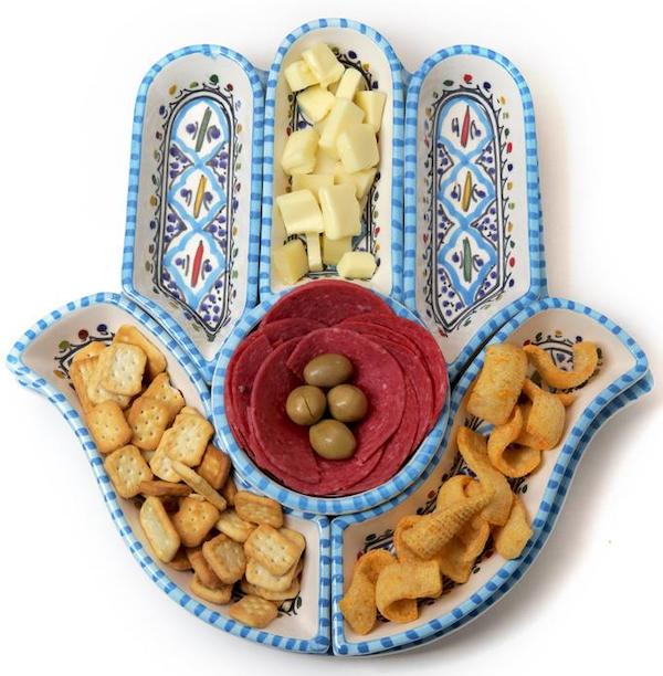 Hamsa Dipping and Serving Ceramic Plates
