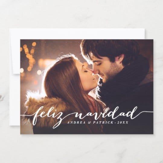 Handwritten Script Feliz Navidad Christmas Photo Card