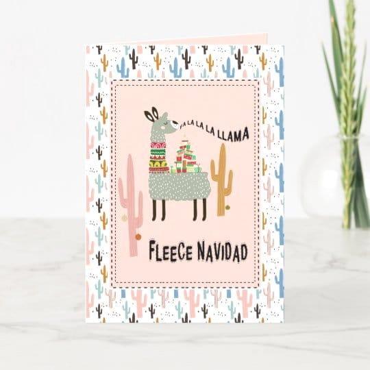 Llama Christmas Funny Fleece Navidad Holiday Card