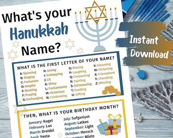 Printable Hanukkah Party Games