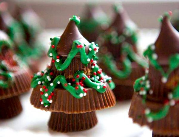 Reese Peanut Butter Cups and Hershey Kiss Candy Christmas Tree