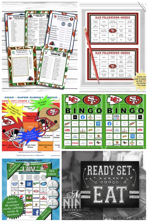 Digital Printable Superbowl Party Games