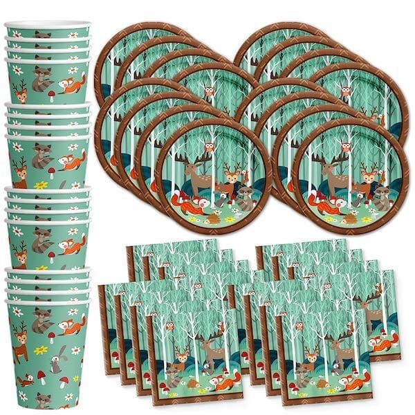 Baby Woodland Animals Birthday Party Supplies Set Plates Napkins Cups Tableware Kit