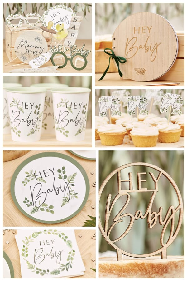 Hey Baby Botanical Party Supplies for Woodland Animal and Jungle Themed Baby Showers