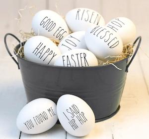 White Wooden Farmhouse Eggs on Sale