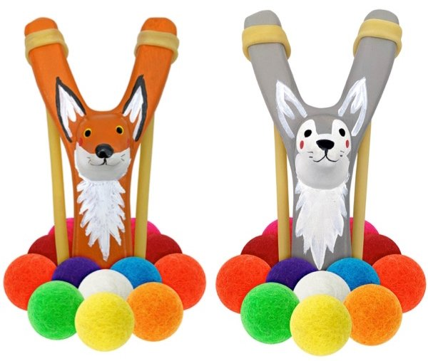 Animal Slingshots with Felt Balls