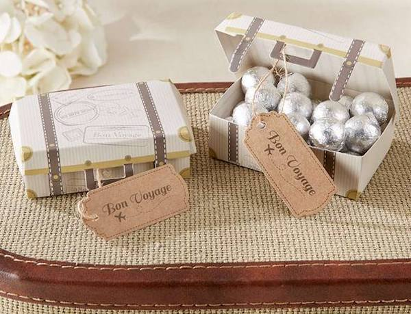 Bon Voyage Vintage Suitcase Place Card Favor Box