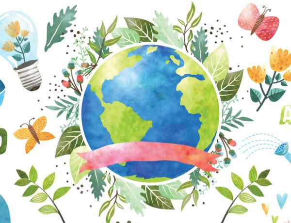 Entertaining on Earth Day Watercolor
