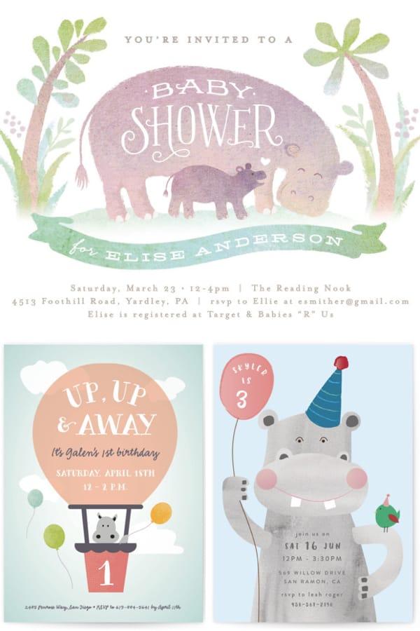 Hippo Party Invitations